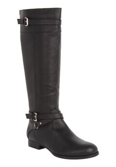 Janis Leather Regular Calf Boot by Comfortview®, BLACK, hi-res