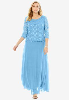 Lace Popover Dress, CRYSTAL SEA, hi-res