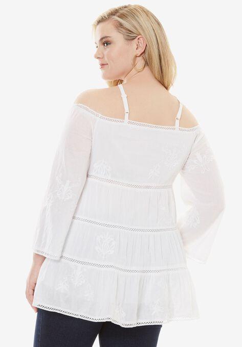 Cold Shoulder Embroidered Tunic, , hi-res