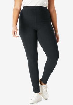 Ankle-Length Stretch Legging, BLACK