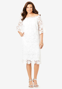 Off-The-Shoulder Lace Dress with Bell Sleeves, WHITE