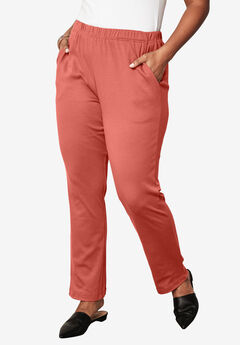 Soft Knit Straight-Leg Pants, DUSTY CORAL, hi-res