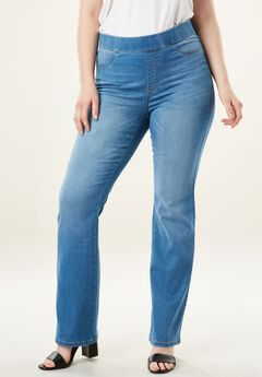 The No-Gap Slim Bootcut Jean by Denim 24/7®, LIGHT STONEWASH