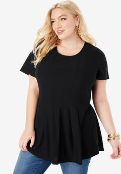 Pleated Tunic with Short Sleeves, BLACK