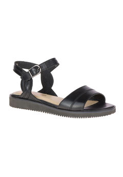 Briard Qtr Strap Sandals by Hush Puppies®, BLACK LEATHER, hi-res