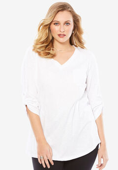 Lightweight Textured Slub Knit Boyfriend Tunic,