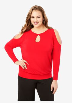 Keyhole Cold-Shoulder Top,