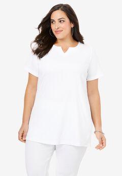 Notch-Neck Soft Knit Tunic, WHITE