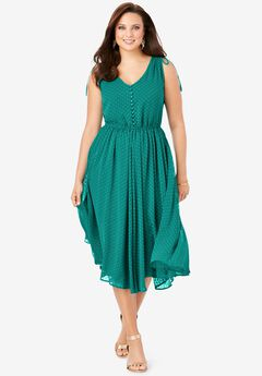 Swiss Dot Midi Dress,
