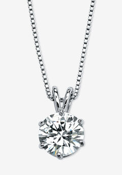 """Platinum over Sterling Silver Solitaire Pendant Cubic Zirconia 18"""","""