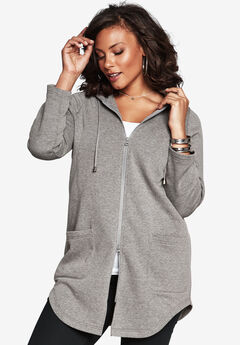 Lightweight Hooded Fleece Jacket, MEDIUM HEATHER GREY, hi-res