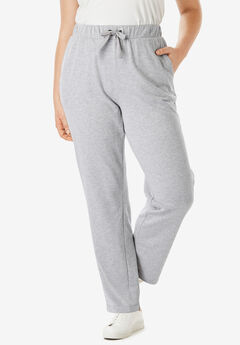 Straight Leg French Terry Pant with Drawstring, HEATHER GREY