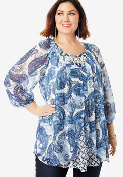 Embellished Print Top with Three-Quarter Sleeves, BLUE LAYERED PAISLEY