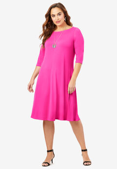 Boatneck Swing Drape Dress with Three-Quarter Sleeves, VIVID PINK