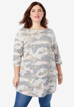 Boatneck Ultimate Tunic with Side Slits, DUSTY CAMO