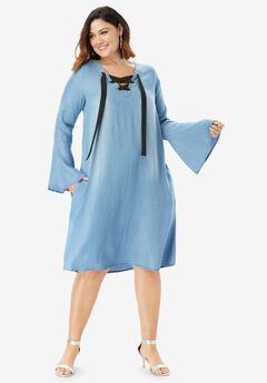 Denim Trapeze Dress with Lace-Up Neck, MEDIUM STONEWASH