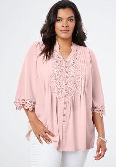 Print Lace Tunic, PALE BLUSH, hi-res