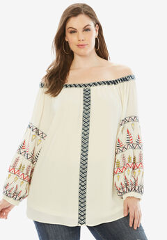 Off-The-Shoulder Embroidered Top., IVORY MULTI, hi-res