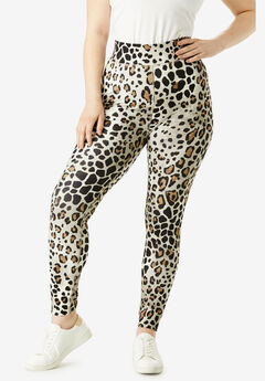 Performance Legging with Wide Waistband, NATURAL TEXTURED ANIMAL