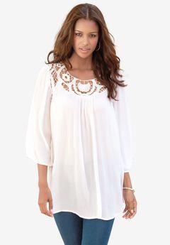 Lace Crochet Tunic, WHITE, hi-res