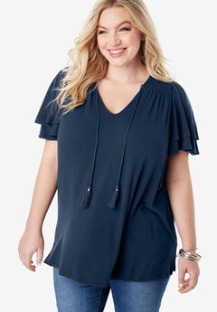 V-Neck Ruffle-Sleeve Tee with Tassel Ties,