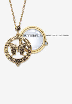 "Goldtone Antiqued Butterfly Pendant with 24"" Chain,"