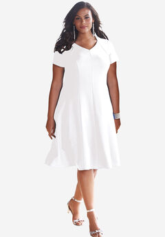 Seamed Flare Dress, WHITE, hi-res