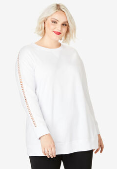 Crochet Sleeve Sweatshirt, WHITE