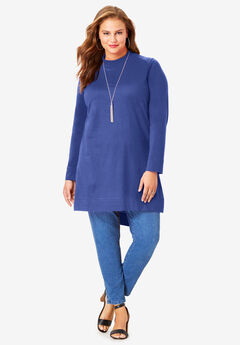 High-Low Mockneck Ultimate Tunic, ULTRA BLUE