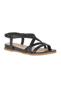 Dalmatian Pinstud Sandals by Hush Puppies®, BLACK LEATHER, hi-res