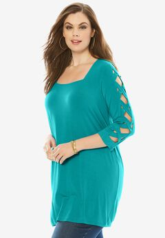 Lattice Sleeve Drape Tunic, WATERFALL, hi-res