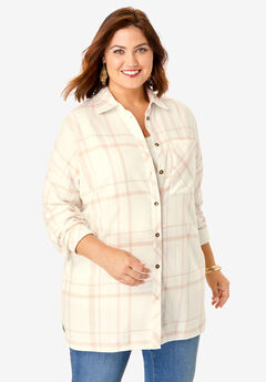 Flannel Tunic, IVORY OPEN PLAID