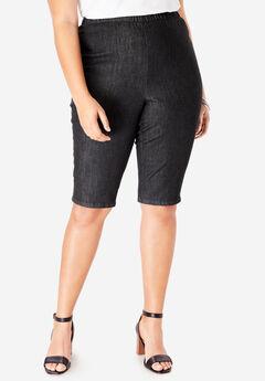 Pull-On Stretch Bermuda Jean Short by Denim 24/7®, BLACK DENIM