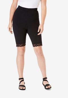 Essential Stretch Lace-Trim Short, BLACK