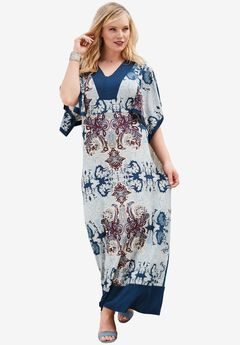 Long Kimono A-Line Dress, NAVY PRINT, hi-res