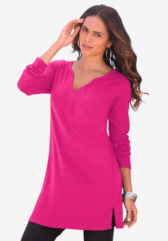 Y-Neck Ultimate Tunic, VIVID PINK