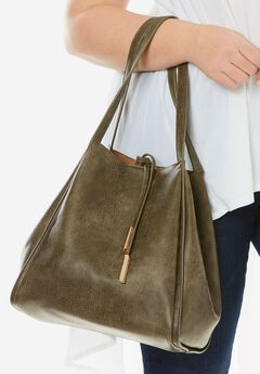 Faux-Leather Bucket Bag, OLIVE, hi-res