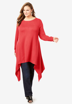 Fine Gauge Trapeze Sweater With Handkerchief Hem,