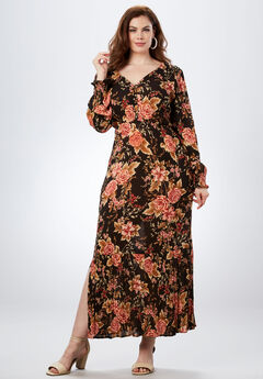 Crinkle Maxi Dress, PINK WINTER ROSE