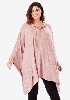 Supersoft Hoodie Poncho with Zip Front,