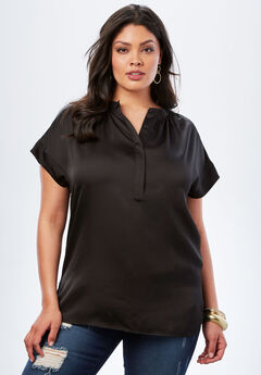 Satin Cap-Sleeve Shirt, BLACK, hi-res