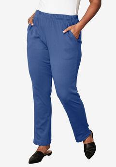 Soft Knit Straight-Leg Pants, DARK BLUE