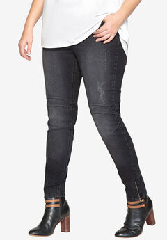Moto Skinny Jean , BLACK DENIM