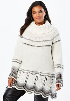 Chevron Border Pullover Sweater, GREY COMBO