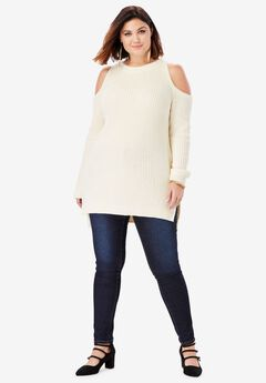 Cold-Shoulder Sweater with Shaker-Stitch,