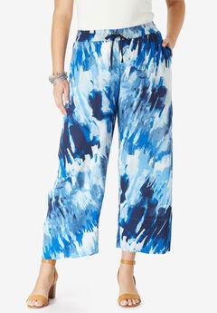 Crinkle Wide-Leg Crop Pant, BLUE TIE DYE