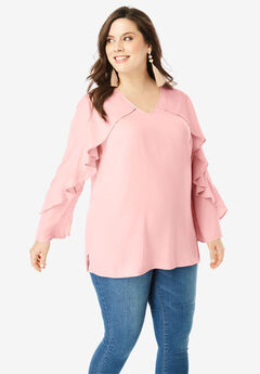 Ruffled Georgette Blouse, SOFT BLUSH