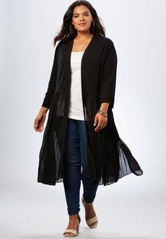 Pleated Duster Jacket, BLACK, hi-res