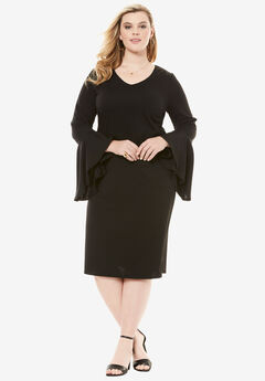 Bell Sleeve Shift Dress, BLACK, hi-res