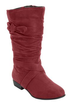 Heather Wide Calf Slouch Boots with Tie Strap by Comfortview, BURGUNDY, hi-res